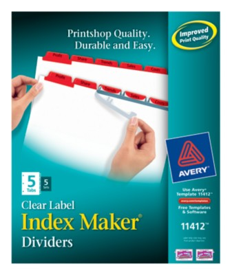 Index Maker Clear Label Dividers with Color Tabs 11412