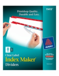 Avery® Index Maker® Clear Label Dividers 11413, 8-Tab, 5 Sets, Red