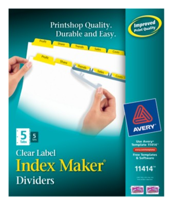 Index Maker Clear Label Dividers with Color Tabs 11414