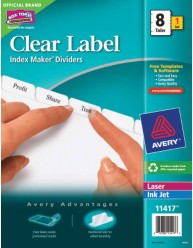 Avery Index Maker Clear Label Dividers with White Tabs 11417 Packaging Image