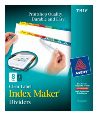 Index Maker Clear Label Dividers with Color Tabs 11419