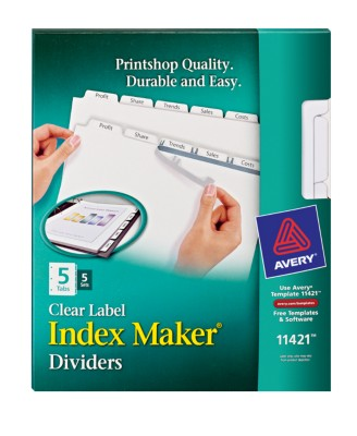 Index Maker Clear Labels Dividers with White Tabs 11421
