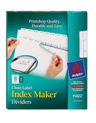 Index maker clear labels dividers with white tabs 11422 8 for Avery 8 tab clear label dividers template