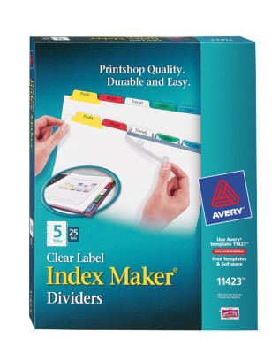 Index Maker Clear Label Dividers with Color Tabs 11423