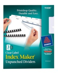 Avery® Index Maker® Unpunched Clear Label Dividers for Bound Documents 11430, Packaging Image