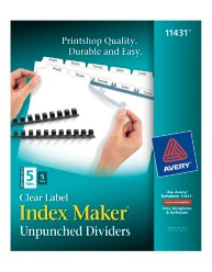 Index Maker Clear Label Unpunched Dividers