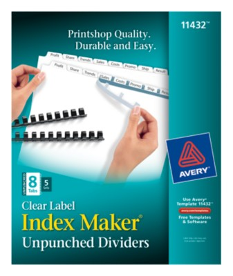Index Maker Clear Label Unpunched Dividers 11432