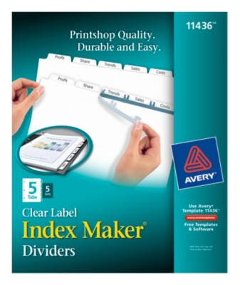 Index Maker Clear Labels Dividers with White Tabs 11436