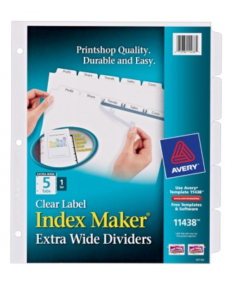 Index Maker Extra Wide Dividers with Clear Labels 11438