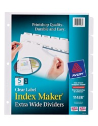 Avery® Index Maker® Extra-Wide Clear Label Dividers 11438, Packaging Image