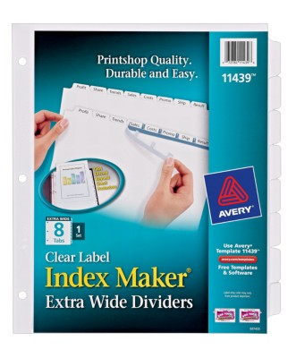 Index Maker Extra Wide Dividers with Clear Labels 11439