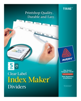 Index Maker Clear Labels Dividers with White Tabs 11446