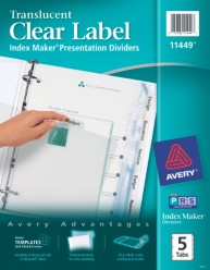Avery Index Maker Clear Label Dividers 11449 Packaging Image
