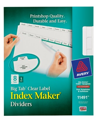 Big Tab Index Maker Divider, 8 Tabs, 1 Set 11491