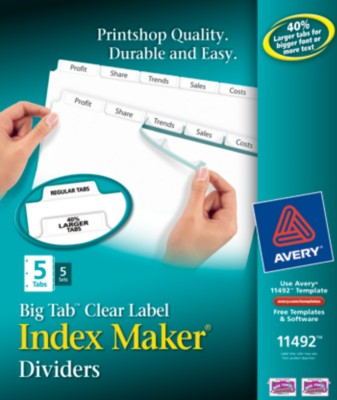 Big Tab Index Maker 5 Tab White 5 Set 11492
