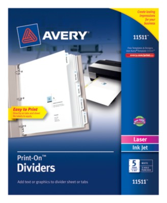 Print-On Presentation Dividers, 5 Tab, White Tab, 1 Set, Laser/ InkJet 11511