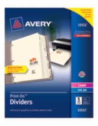 Avery® Print-On™ Dividers 11512, Ivory, Packaging Image