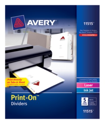 Print-On Dividers, White, 5-Tab, 5-Set 11515