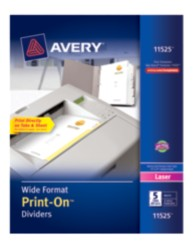 Avery® Wide Format Print-On™ Dividers 11525, Packaging Image
