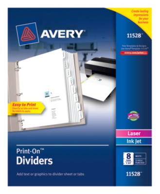 Print-On Dividers, 8 Tab, White Tab, Laser/ Ink Jet, 1 Pack 11528