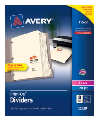 Print-On Dividers, 8 Tab, Ivory Tab, Laser/Ink Jet, 1 Pack 11529
