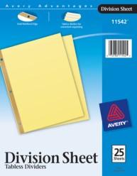 Division Sheet Dividers