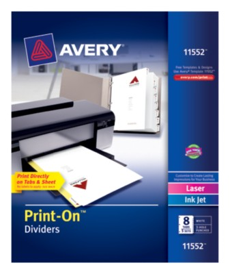 Print-On Dividers, White 8-Tab, 5-Sets 11552
