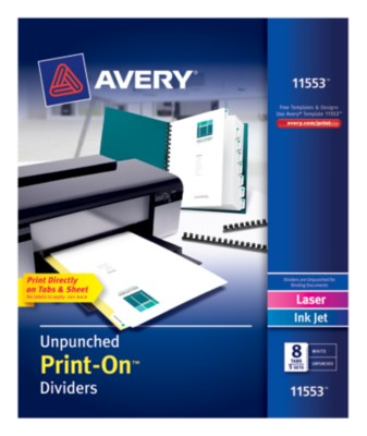 "Print-On Dividers, Unpunched, 8-1/2"" x 11"", 8-Tab, 5-Sets, White, Laser/InkJet 11553"