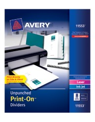 Avery® Unpunched Print-On™ Dividers 11553, Packaging Image