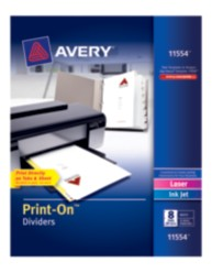 Avery® Print-On Dividers 11554, White, Packaging Image