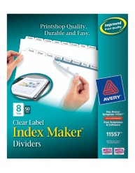 Index maker clear labels dividers with white tabs 11557 8 for Avery 8 tab clear label dividers template