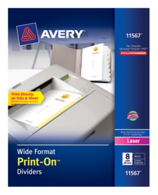 Wide Format Print-On Dividers, White, 8-Tab, 25-Sets 11567
