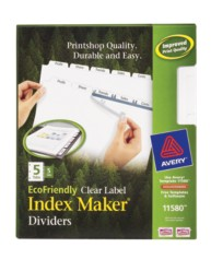 Avery EcoFriendly Index Maker Clear Label Dividers 11580 Packaging Image