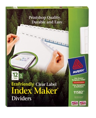 EcoFriendly Index Maker(R), White 12 Tab with Clear Labels, 5 sets 11582