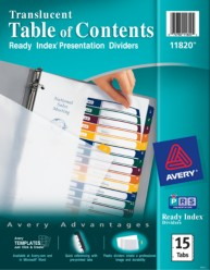 Ready Index Translucent Table of Contents Dividers
