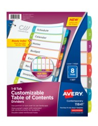 Avery Customizable Table of Contents Dividers 11841, Packaging Image