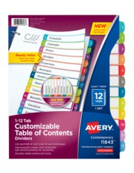 Avery Customizable Table of Contents Dividers 11843, Packaging Image