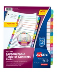 Avery Customizable Table of Contents Dividers 11845, Packaging Image