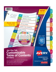 Avery® Customizable Table of Contents Dividers 11847, Packaging  Image