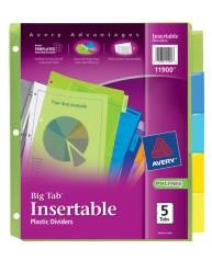 big tab insertable plastic dividers 11900 5 tab set. Black Bedroom Furniture Sets. Home Design Ideas