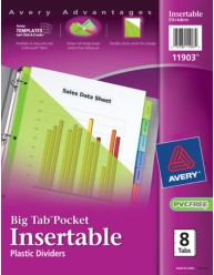 Big tab pocket insertable plastic dividers 11903 8 tab set for Avery template 11903