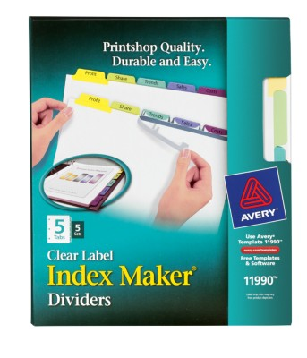 Index Maker Clear Label Dividers with Contemporary Color Tabs 11990