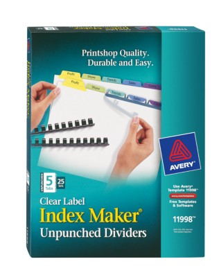 Index Maker Clear Label Unpunched Dividers with Contemporary Colors 11998