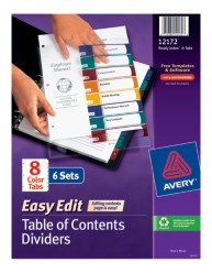 Avery® Ready Index® Easy Edit™ Table of Contents Dividers 12172, Packaging Image