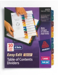 Ready Index Table of Contents Dividers