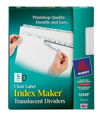 Index Maker Clear Label Translucent Dividers 12449