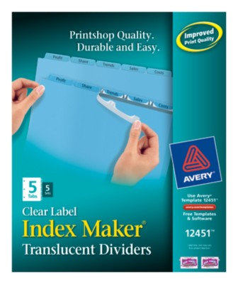 Index Maker Clear Label Translucent Dividers 12451