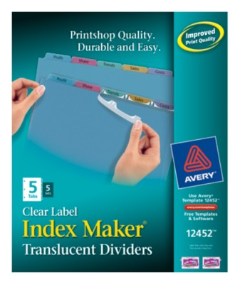 Index Maker Clear Label Translucent Dividers 12452