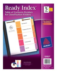 Avery® Ready Index® Table of Contents Dividers for Classification Folders 13157, Packaging  Image