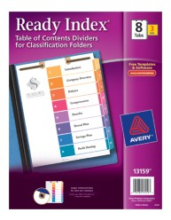 Avery® Ready Index® Table of Contents Dividers for Classification Folders 13159, Packaging Image